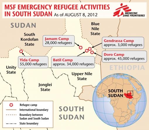 Χάρτης με τους προσφυγικους καταυλισμούς στο Νότιο Σουδάν όπου οι Γιατροί Χωρίς Σύνορα έχουν αναπτύξει την επείγουσα παρέμβασή τους